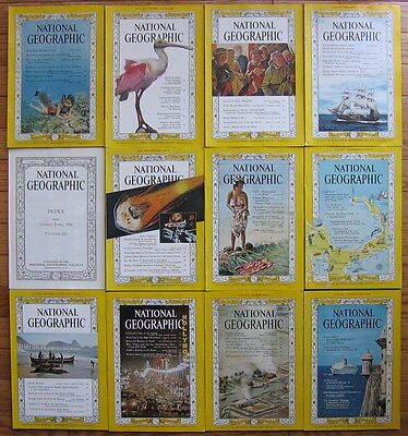National Geographic Magazine 1962 various issues, map, Index Volumes