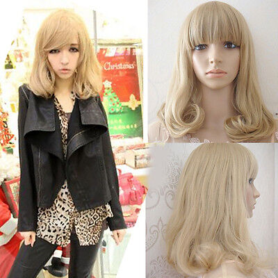 Lolita Blonde Wig Lady Women New Fashion Long Curly Wavy Hair Cosplay Full Wigs