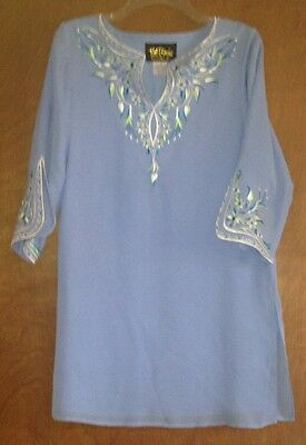 Bob Mackie Wearable Art Lilac Perriwinkle Silk Lined Tunic Top Size S