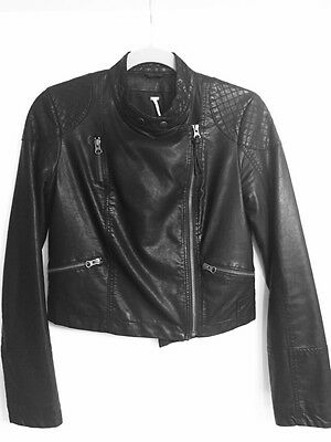 Free People Faux Leather Quilted Sleeve Moto Jacket Size 2, Retails $200