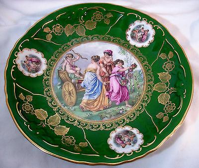 "Vintage Mitterteich Green and Gold 10 1/2"" dia.Display/Charger Plate, Cupid."