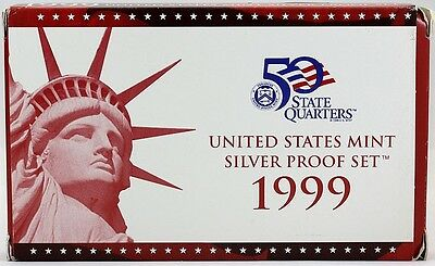 1999 US Mint Silver Proof Set w/ COA and original packaging 9 coin set