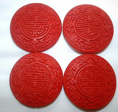 2x52mm Red Cinnabar Beads, Carved Lacquerware, Flat Round combined post savings
