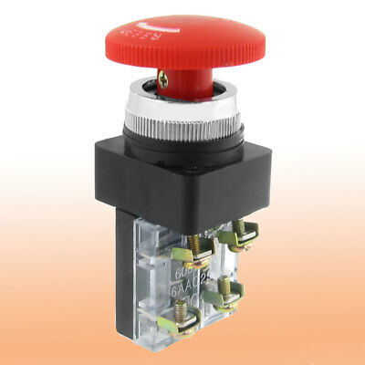 40mm Red Sign Mushroom Emergency Stop Push Button Switch 1 NC 1 NO 6A 660V AC