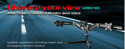 SilverStone TRIPLE LCD Monitor Desk Stand SST-ARM31BS. Supports upto 3 monitors
