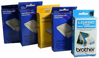 5 LC25 Black Cyan Magenta Yellow Ink Cartridge set for Brother MFC4420C MFC4820C