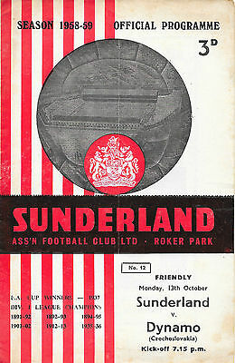 Sunderland v Dynamo, 1958/59 - Friendly Match Programme.