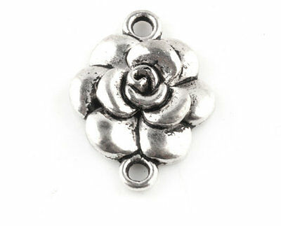 Free Shipping 10PCS Tibetan Silver Crafts Rose Flower Findings Connectors TA1431