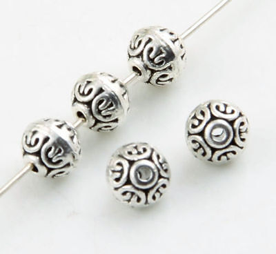 50/200pcs Tibetan Silver Rondelle Flat round Spacer Beads 7x6.5mm (Lead-free)