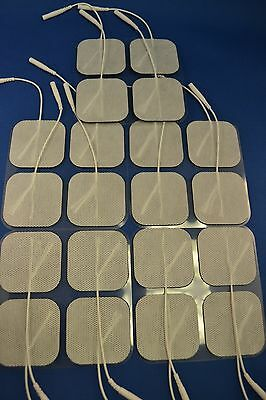 40 Electrode Pads Tens Units 2x2Inch White Cloth Free Shipping!