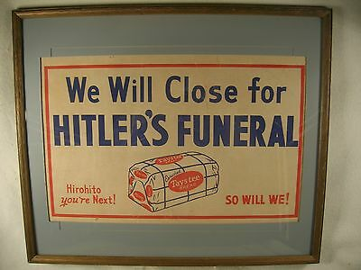 """1945 WW II Taystee Bread Print Poster We Will Close for Hitler's Funeral 25"""""""