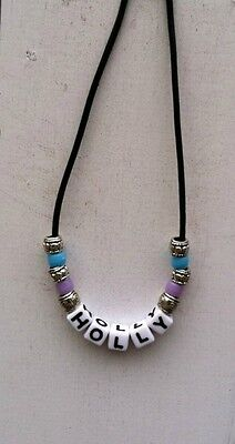 Personalized Name Necklace - Holly  - Hand Beaded on Black Leather Cording