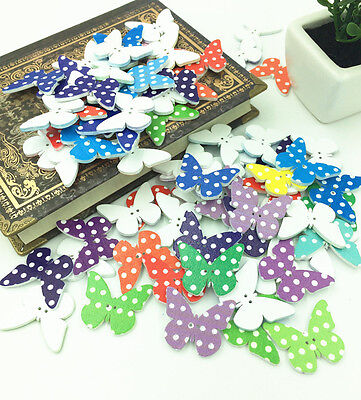 20-PCS Mixed Butterfly Wooden Buttons 2 Holes Fit Sewing and Scrapbook 30x26mm