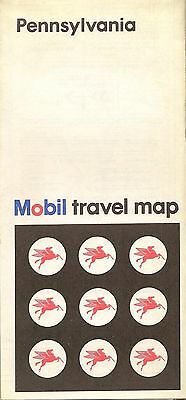 1971 MOBIL OIL Road Map PENNSYLVANIA Scranton Philadelphia Pittsburgh Allentown