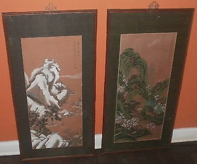 Vintage Han Palace Art Co. Batik Scroll Framing Oil Painting Wood Carving Panel