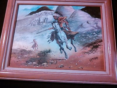 AMARO INDIAN ON A HORSE WESTERN LANDSCAPE OIL ON CANVAS PAINTING
