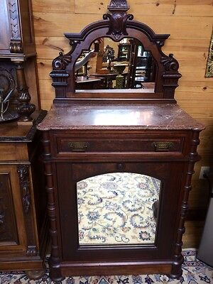 Very Nice Victorian Marble Top Credenza With Mirrored Back