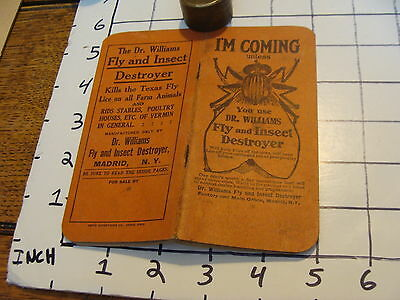 Vintage Early Paper: used DR. WILLIAMS FLY & INSECT DESTROYER note pad GREAT FLY