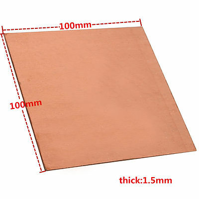 1pc 99.9% Pure Copper Cu Metal Sheet Plate 1.5mm*100mm*100mm