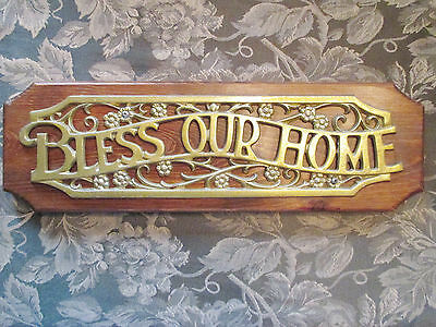 BLESS OUR HOME Inspirational Brass/Gold Wood Wall Decor Hanging Plaque Sign