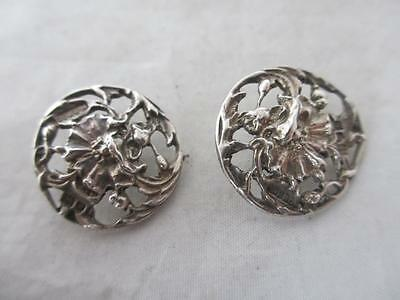 ANTIQUE 1904 LONDON EDWARDIAN STERLING SILVER PAIR OF BUTTONS