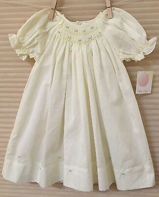 Petit Ami 3-6M (3M/60cm) Ivory Smocked Dress With Embroidered Flowers NWT Easter