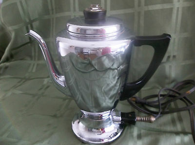 VINTAGE MIRRO MATIC ELECTRIC COFFEE PERCOLATOR / POT TESTED WORKS GREAT