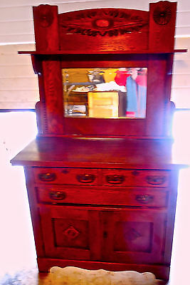 ANTIQUE OAK ARTS AND CRAFTS STYLE BUFFET/SIDEBOARD WITH BEVELED MIRROR - *FINE*