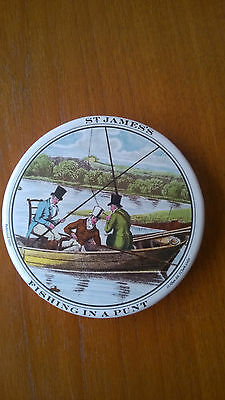 STAFFORDSHIRE POT LID ST JAMES'S FISHING IN A PUNT A G HACKNEY & CO LTD VGC