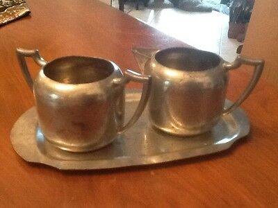 "VINTAGE ........PEWTER ""Old English"" CREAMER AND SUGAR SET & CARRYING TRAY"