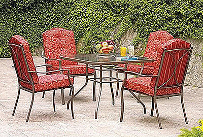 Red 5 Pc. Patio Dining Table & Chairs Set Outdoor Backyard Furniture All Weather