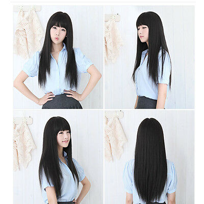 New style women's Girl fashion Long straight full Hair Wigs cosplay black wig