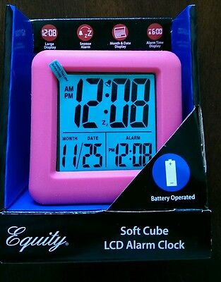 La Crosse Equity Soft Cube LCD Battery Operated Travel Alarm Clock(New-Pink)