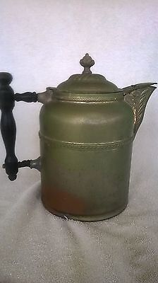 Antique Copper Coffee Pot with wood handle