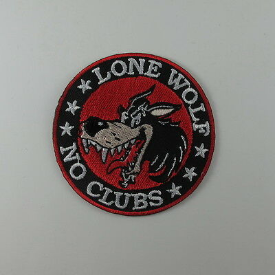 LONE WOLF NO CLUB EMBROIDERED SEW IRON ON PATCH BIKER MOTOCYCLE T-SHIRT JACKET