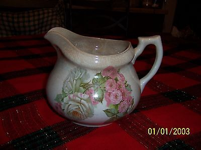 Edwin M. Knowles Pitcher/Florel Semi Vitreous China/Pink Roses