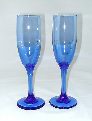 "Set of 2 Clear Cobalt Blue Fluted Champagne Wine Stem Glass Glasses 8 1/8"" high"