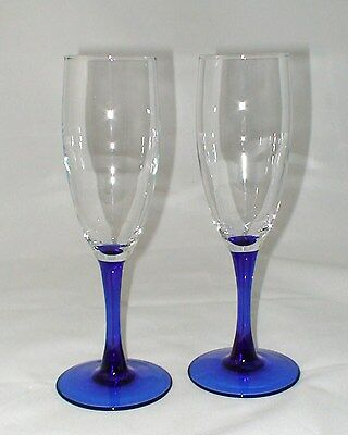 "Set of 2 Clear with Cobalt Blue Stem Champagne Glass Glasses 7 7/8"" high"