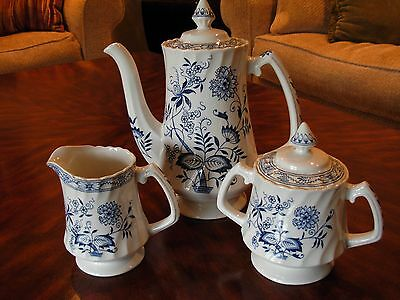 Wood And Sons Tea Pot with Creamer and Sugar Bowl Old Staffordshire Blue Fjord