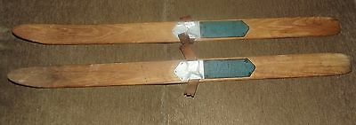 Very Rare C. Withington & Sons Buckfield, Maine Child's Antique Wooden Skis VGUC