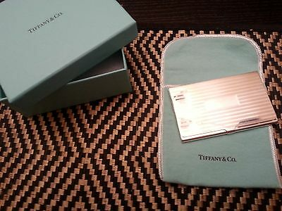 Tiffany & Co. Silver Striped Engravable Business Card Case Holder