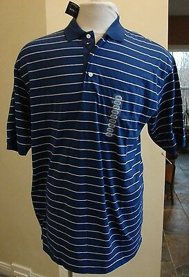 Tommy Hilfiger Blue white striped short sleeved polo shirt NEW
