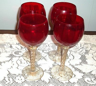 RUBY RED GLASS TALL 4 PC. BALLOON WINE GLASSES  CLEAR GOLD GLITTER SPRIAL STEM