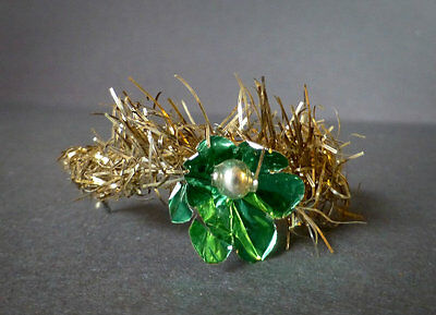 Antique Gold Tinsel Crescent w/Green Tinfoil Flower Christmas Ornament Mid 1800s