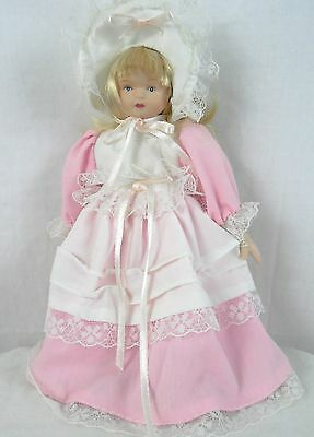 China Doll blonde hair pink/white dress 8 inches tall