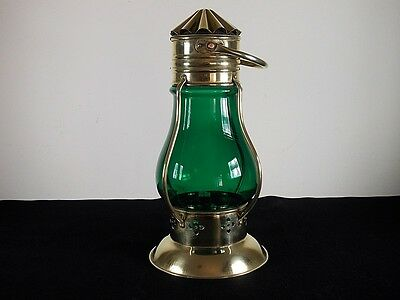ANTIQUES / VINTAGE OIL LAMP BRASS 360 GREEN COLOR GLASS LENS (COLLECTIBLES) !!##