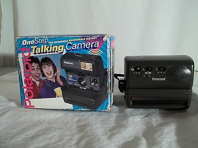 Polaroid One Step Talking 600 Color Instant Camera with original box.