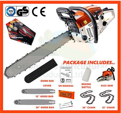 "53cc Petrol Chainsaw, Complete With 2 x Bars & Chains 12"" & 20"" (2017 Model New)"