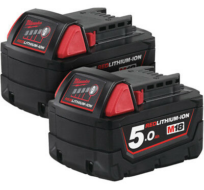 Milwaukee M18B5 TWIN 18v NEW 5.0ah Red Lithium Battery x2 *UK Genuine Batteries*