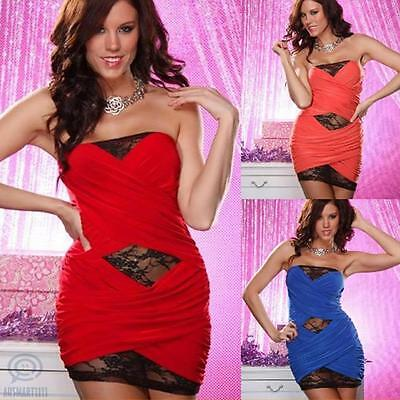 AU Small Sz 8 10 Black Lace Wrap Sexy Casual Mini Bodycon Club Wear Party Dress